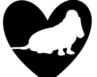 Heart dog decal - Basset Hound