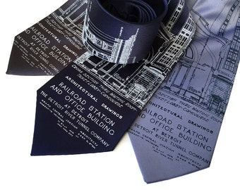 Detroit Train Station Blueprint Necktie. Michigan Central Station tie. Men's hand printed tie. 1912 silkscreened architect's blueprint.