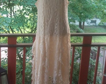 Beautiful 1920's Inspired Vintage 1980's Sleeveless Cream Lace Gown