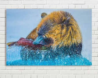 Large bear painting in catching fish on canvas 76 x 50cm