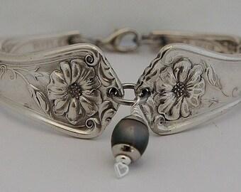 "Morning Glory September Birth Flower 11th Anniversary Women's Spoon Bracelet Optional Mood Charm Unique Silverware Jewelry""Gloria"" Year 1906"