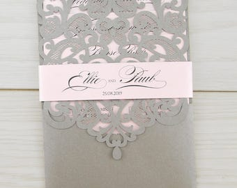 SAMPLE * Josephine Laser Cut Wedding Invitation with Belly Band, Pocketfold, Grey, Baby Pink