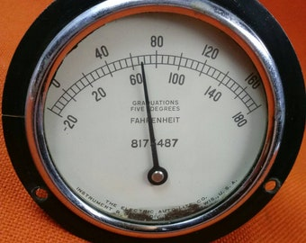 Vintage Aircraft Industrial Machine Temperature Gauge