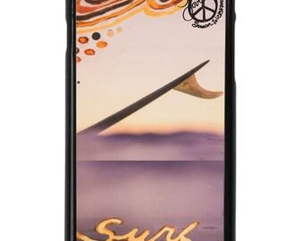 NEW iPhone 7/7+ Case, SURF WAVELENGTH, Indigo, Sea, Waves, Beach, Surf, Ocean Art, Ocean, Sunset, Art, Avail with Black or White case color