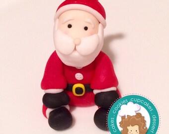 Santa fondant cake topper