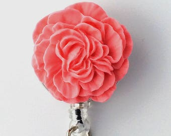 ID Badge Reel Pink Coral Flower -  Peony - Resin Flower Cabochon on Retractable Badge Holder 331
