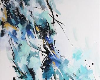 Peinture abstraite à l'acrylique, fleurs abstraites bleues et turquoises, Tableau contemporain unique, oeuvre d'art originale