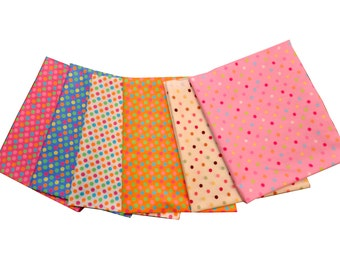 """Quilt 6 Fat Quarters 18x22"""" inches Retro Pastel Colorful Polka Dot"""
