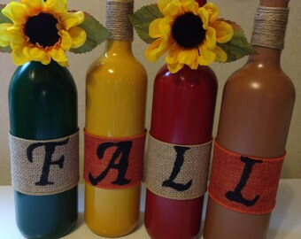 Handpainted fall wine bottles/painted wine bottles