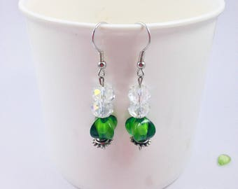 Green and Clear Bead Dangle Earrings