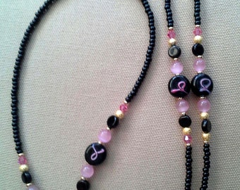 Breast Cancer PINK RIBBON  and  Black Eyeglass Chain Holder 5 Dollar DONATION
