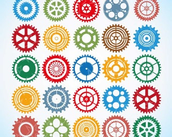 Gear clipart, steampunk clipart, digital gears, Cogwheels Clipart, Cogs Clip Art, Steampunk Clipart, Silhouette Clipart,  digital cogs,