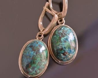 chrysocolla earrings, Chrysocolla silver earrings, Chrysocolla silver jewelry, gemstone earrings, blue green stone earrings