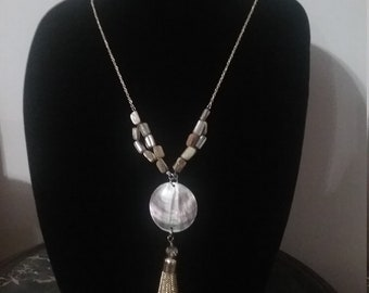 Tan Mother-of-Pearl Pendant with Tassel