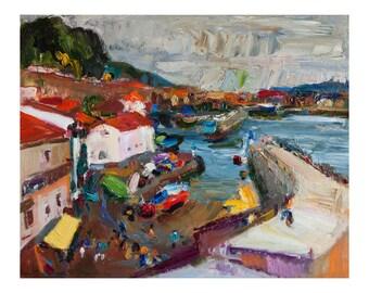 Fine Art Giclee Print - San Sebastian Original Oil Painting Spanish City Spain Impasto Paintings Landscape Landscapes Seascape Cityscape Sea