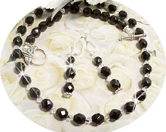 Black Jewelry, Necklace, Earrings,  Black Dressy, Black Necklace, Black Earrings, Crystal Jewelry Black, Bridesmaid Jewelry, Dressy Black
