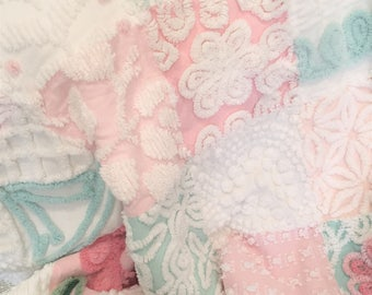 Plush  Handmade Vintage Chenille Patchwork Cottage Chic Aqua, Pink and White  Bedspread Throw Quilt