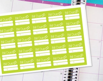 Planner Stickers Erin Condren Life Planner (ECLP) - 25 Bill Due Amount Stickers (#3001)