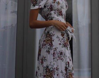 80's rayon maxi dress