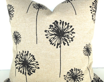 Tan PILLOW Decorative Throw Pillow Covers BLACK Ikat  Dandelion Tan pillow Covers 16 18 20x20 .All Sizes. Taupe Say it with pillows
