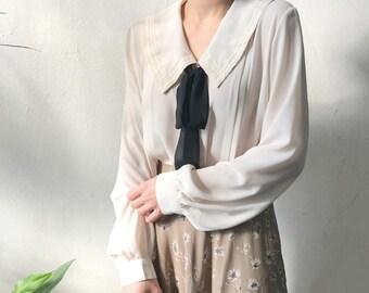 Ruffled Romantic Blouse,Ivory collar shirt,Elegant ivory shirt,puffed sleeves blouse,,collar lovely blouse,long sleeve blouse,comfortable