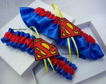 SUPERMAN/Superman Wedding Bridal Garter Set/Superhero Garter Set/Red And Royal Blue Garter Set