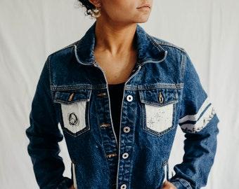 Aster Bands // Hand Painted Denim Jacket