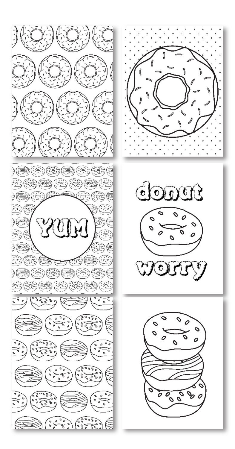 Donut Worry Adult Coloring Pages, Donut Coloring Pages
