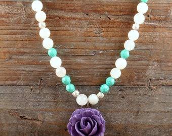 Flower Necklace, Moonstone Necklace, Statement Necklace, Purple Flower, Gemstone Necklace, Beaded Jewelry