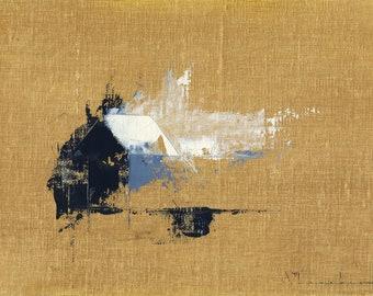 Bungalow Divine - Original Oil Painting Landscape Painting Abstract Landscape Painting - 5 x 7