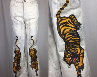 Vtg 70s faded glory hand painted tiger novelty bell bottom jeams pants flares small boho hippie