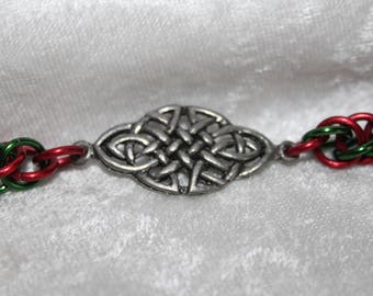 Handcrafted chainmaille Celtic knot Christmas bracelet