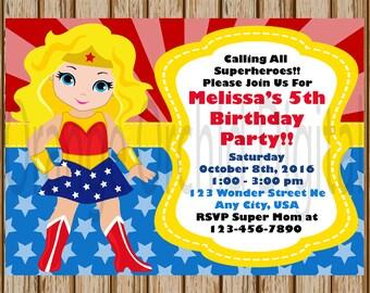 "Blonde Wonder Woman Birthday Invitations- Wonder Woman Birthday Party- Superhero Birthday- Superhero Invitations - 5"" x 7"" size- Digital"