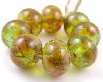 Spring Blossoms SRA Lampwork Handmade Artisan Glass Donut/Round Beads Made to Order Set of 8 8x12mm