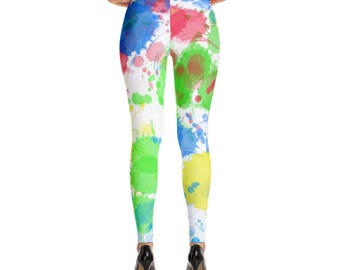 Leggings,Paint Splatter,Red,Blue,Green,White,Yellow,Womens,Yoga,Workout,Tights,Pants,Stretch,Print,Pattern,Clothing,Fashion,Printed,Design