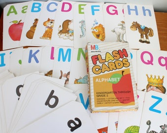 Alphabet Flash Cards, 1987, 3.5x5.75 Inches, Letters A-Z, Milton Bradley, Children's Game, Learning Game, Vintage Paper