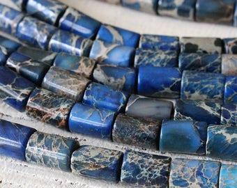 6x8mm Impression Jasper Tube Beads - Imperial Jasper Beads - Aqua Terra Beads For Jewelry Making Supply - Blue - 16 inches