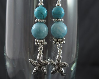 Larimar Bead Earrings - Turquoise Earrings - Beach Earrings -Starfish Charm - Silver plated Ear Wires - Gift for Her