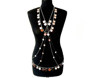 LUXXE Light Reflecting Rose Gold/Silver/Gunmetal 2-Piece Necklace and Body Chain