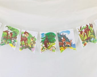 Bambi Story Book Pages Bunting Pennants Nursery Decor Baby Shower Birthday Party Garland Flags