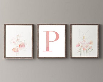 Letter P | Nursery Print | Nursery Art | Alphabet | Instant Download | Digital Print | Wall Art | Baby Girl | Initials | Pink | Watercolor