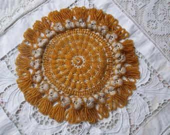 Victorian beaded crochet doily