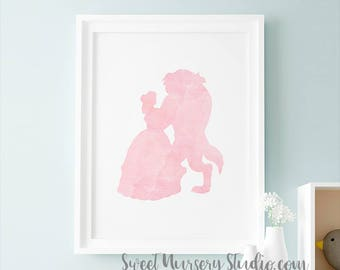 Beauty And The Beast Art Print, Dancing Beauty Beast Illustration Watercolor, Pink Wall Decor Nursery Wall Room Decoration Decor Download
