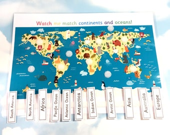 Continents etsy world map continents and oceans learning sheet removable pieces ks1 matching gumiabroncs Images
