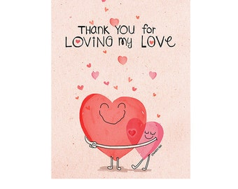 Thank You for Loving My Love Father's Day Card, by Spaghetti Toes, Greeting Card with Envelope