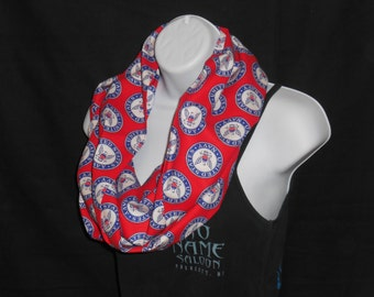 Red Navy Print Infinity Scarf
