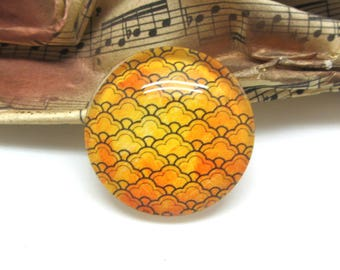 1 cabochon 30 mm glass gold decorated - 30 mm
