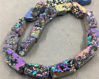 Mixed Size Druzy Quartz Crystal Rainbow Titanium Beads. Raw Drusy Crystal Geode Rectangle Beads For Jewelry KK1279