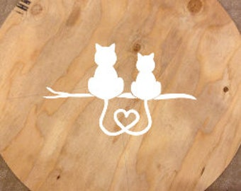 cats in love decal-cats-vinyl decal-birthday-free shipping