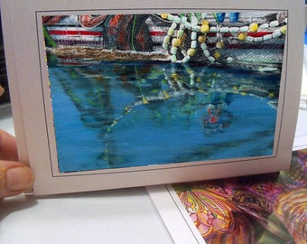 Greeting Card Reflections of a Catch Fishing Alaska boat scene